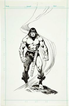 Conan by John Buscema Comic Book Artists, Comic Book Characters, Comic Artist, Comic Books Art, Fantasy Characters, Conan Comics, Bd Comics, Conan Der Barbar, Vikings