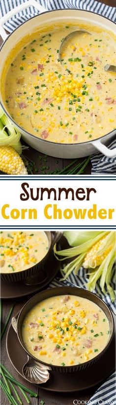 Summer Corn Chowder Recipe - this is the perfect summer soup! Packed with corn a. - Summer Corn Chowder Recipe – this is the perfect summer soup! Packed with corn and its creamy and - Summer Corn Chowder, Potato Corn Chowder, Chicken Corn Chowder, Corn Chowder With Bacon, Crab And Corn Chowder, Easy Corn Chowder, Vegan Corn Chowder, Ham And Potato Soup, Vegan Soup