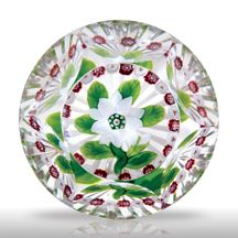 Antique Baccarat faceted white double clematis with bud and millefiori garland paperweight
