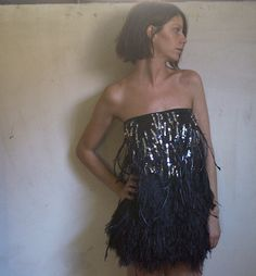 Dsquared2 feather & sequins dress (by Silvia Serina) http://lookbook.nu/look/3823087-Dsquared2-feather-sequins-dress