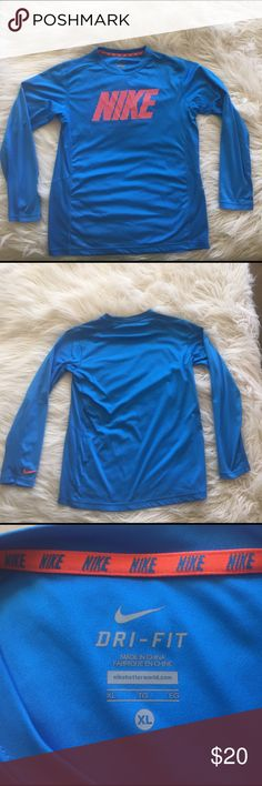 Nike Dry Fit Long-sleeve Blue with neon Orange writing. Willing to negotiate. Nike Shirts & Tops Tees - Long Sleeve