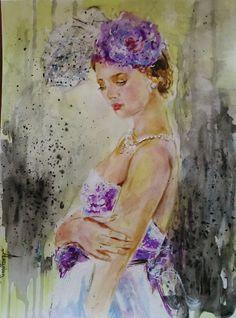Original watercolor,figurative,woman,hat,lilac,yellow,white,romantic wall art,retro woman,romantic woman