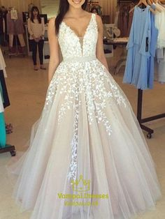2019 Long Prom Dresses Princess, Champagne Formal Dresses Modest, Lace Evening Dresses V Neck - Long Sleeve Wedding Dresses Periwinkle Bridesmaid Dresses, Ivory Prom Dresses, Princess Prom Dresses, Prom Dresses For Teens, Tulle Prom Dress, Lace Evening Dresses, Ball Dresses, Evening Gowns, Prom Gowns