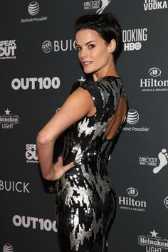 Jaimie Alexander booty in black and silver dress