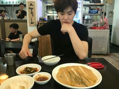 hE LOOKS SO BOYFRIEND HERE 'What's wrong, jagi?' 'This food isn't enough to fill your stomach'
