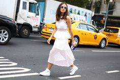Erika Boldrin wearing a Self-Portrait dress and Nike Air Force One in New York