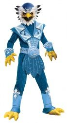 DIY Skylanders - Jet Vac 2 pr rubber gloves blue sweat suit 3 belts Blue & White feathers Blue leg warmers Blue sunglasses yellow felt