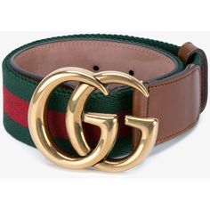 Gucci Web & Logo Canvas And Leather Belt featuring polyvore, women's fashion, accessories, belts, green canvas belt, canvas leather belt, leather belts, logo belts and striped belt