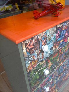 Marvel Comic Book Decoupage Dresser