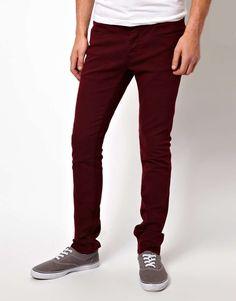 KR3W Jeans Skinny Fit Oxblood