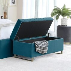 Add a rich, jewel colour to your bedroom with the Amalfi Peacock Velvet Ottoman Storage Bench. Designer panelled detail, brass accent legs and plenty of storage space. Corner Dining Bench, End Of Bed Bench, White Extending Dining Table, Double Bed With Storage, Breakfast Bar Chairs, Contemporary Dining Sets, Gloss Kitchen, Designer Bar Stools, Storage Ottoman Bench