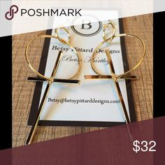 "🆕PHAROH EARRINGS BETSY PITTARD DESIGNS  Open Ring with Dangling Cross  Size: 3""  HANDMADE IN AUGUSTA, GEORGIA                    ❗️PRICE FIRM UNLESS BUNDLED❗️ Jewelry Earrings"