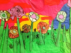 Tissue Collage Landscape Done by Eight Year Olds