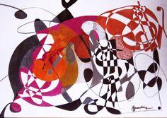 Dancing Dollar-Pintura en tinta sobre madera-(50cmx70cm)-PRECIO:400 Dólares | Venta de Pinturas al óleo y acuarela de Patty Fernandini