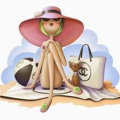 """TOTAL-LOOK by Nina de San """"Just fabulous, darling."""" * at the beach * à la plage Decoupage, Cute Illustration, Travel Illustration, Fashion Sketches, Fashion Illustrations, People Illustrations, Belle Photo, Cute Art, Summer Time"""