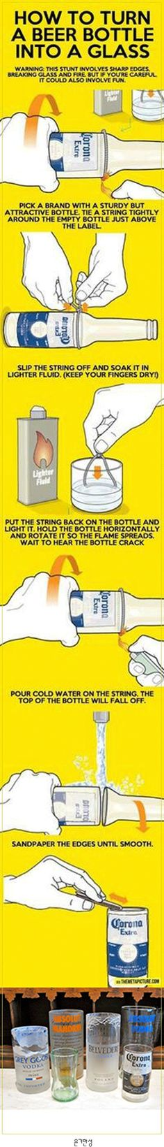 HOW TO TURN A BEER BOTTLE INTO A GLASS  맥주병으로 유리컵 만들기