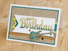 handmade masculine card for teens or adults, using Stampin' Up Birthday Wishes for You stamp set and Epic Celebrations free Sale-a-bration stamp set. Card by Di Barnes #colourmehappy 2018 Occasions Catalogue 2018 Sale-a-bration