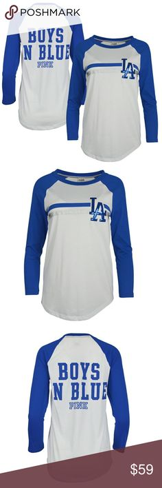 ecf6c8891 Sequin Bling 3 4 Sleeve Raglan Shirt Women s Los Angeles Dodgers PINK by  Victoria s Secret