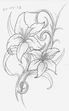 Day Lily Tattoo Designs Day 57. lily design a bit