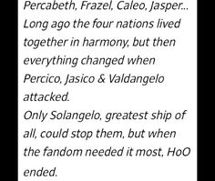 So the good ships got attacked by the bad ships and the best ship (which I think would be Percabeth but whatever) has to save them.