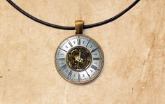 Vintage necklace Clock jewelry Watch pendant by SleepyCatPendants