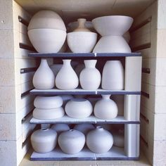 • P006 • A typical kiln load of mostly students' wheel-thrown pottery in my small Tetlow electric kiln. Very slow 900°C Biscuit Firing - this load will take approximately 14.5 hours to complete all the programmed cycles.