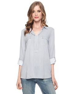 Splendid Official Store, Pinstripe Shirt Top, navy white, Sale : Womens : Clearance, ST1209RT