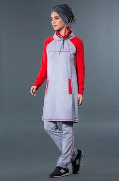 Tesettür eşofman modelleri, mercan renk garnili tesettür eşofman takımı, mayovera'da Muslim sports wear