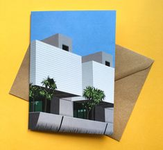 My Barbican Centre print is now available as a greetings card! London Architecture, Architecture Graphics, Lakeside Terrace, Barbican, Brutalist, London City, Digital Illustration, Note Cards, Centre