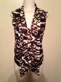 Womens Calvin Klein Animal Safari Sleeveless Tie Neck Cami Tank Blouse Size S $24.99 #calvinklein #safariwear #animalprint