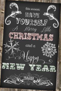Chalkboard Christmas Card Happy New Year
