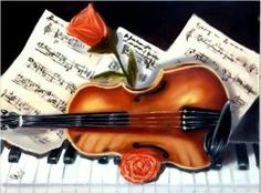 Violin and piano - oils on canvas 30x40 cm by sabb