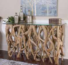 Driftwood Furniture, Driftwood Table, Driftwood Projects, Diy Furniture, Rustic Furniture, Natural Wood Furniture, Antique Furniture, Diy Projects, Driftwood Frame