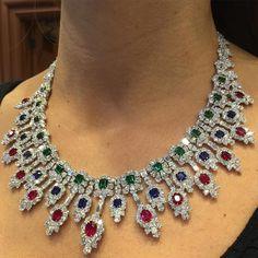 Ruby And Diamond Necklace, Diamond Pendant Necklace, Gemstone Necklace, Sapphire Necklace, Ruby Sapphire, Emerald Diamond, Fine Jewelry, Women Jewelry, Emerald Jewelry