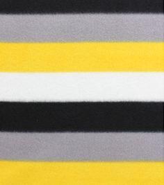 Blizzard Fleece Fabric- Yellow And Gray Stripe