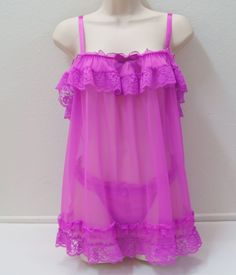 VICTORIA'S SECRET Sheer and Lace Baby Doll Panties Set NEW NWT  #VictoriasSecret #BabydollChemise