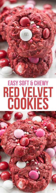 Easy Red Velvet Cookie Recipe - this fun cookie is soft and chewy and gooey too, and perfect with M&Ms. They're good all year round but red velvet cookies are perfect for Valentine's Day!  via @crazyforcrust