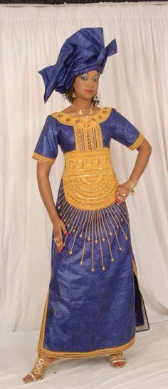 Women's maxi dress gold embroidery by NewAfricanDesigns on Etsy African Print Dresses, African Print Fashion, Tribal Fashion, African Fashion Dresses, African Attire, African Wear, African Women, African Dress, Colorful Fashion