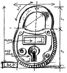 Tim Holtz Rubber Stamp LOCK SKETCH Stampers Anonymous P1-2083
