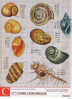 Shell cross stitch patterns