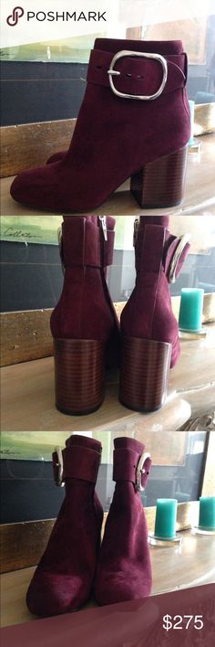 """Alexander Wang Kenze Suede Booties Gorgeous wine/Bordeaux colored 100% genuine suede booties. Accentuated with adjustable strap and oversized silver buckle. Generous toe box, leather lining,3.3"""" stacked heel and side zip. Alexander Wang Shoes Ankle Boots & Booties"""