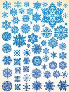 Blue Ink Snowflake Tattoo Flash