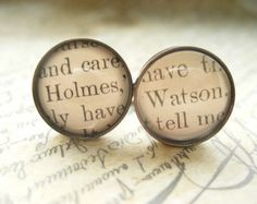 Unique Sherlock Holmes Cufflinks made with real Victorian book pages- Holmes and Watson-  Literary Gift for Him- Mens Fashion- BBC