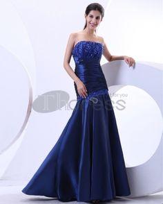 Long Evening Dresses-Ruffle Beading Strapless Floor Length Sleeveless Evening Dresses