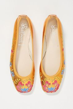 Slide View: 2: Embroidered Ballet Flats