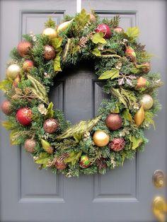 Large Christmas Wreaths Brown Gold Burgundy by WreathsByRebeccaB