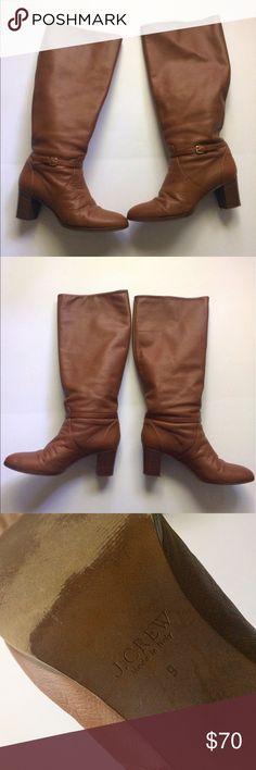 J.Crew Cognac Tall Buckle Boots w/ Heel J.Crew Cognac Tall Buckle Boots w/ Heel. Wide-Calf J. Crew Shoes Heeled Boots