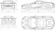 BMW i8 Roadster blueprint Bmw Sketch, Car Top View, Motor Car, Motor Vehicle, Bmw I8, Cad Drawing, 3d Modeling, Custom Cars, Cars And Motorcycles