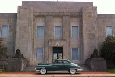 1947 Chrysler New Yorker Club Coupe in front of the old Temple in Fort Smith, Arkansas