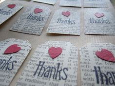Upcycled Thanks Heart Tags, made from vintage encyclopedia paper--Set of 12---available in other styles, customizable